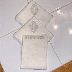 "3 vintage handkerchiefs with ""D"" monograms"